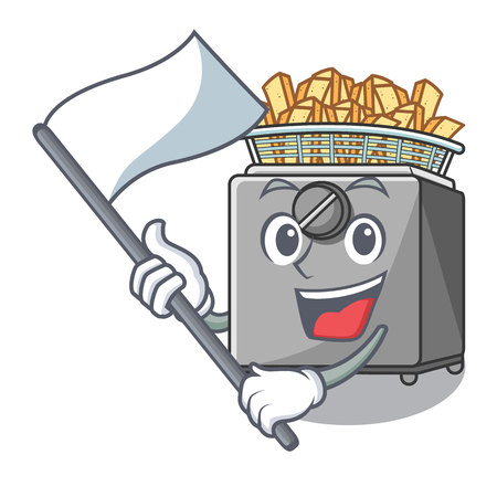 With flag deep fryer machine isolated on mascot vector illustration