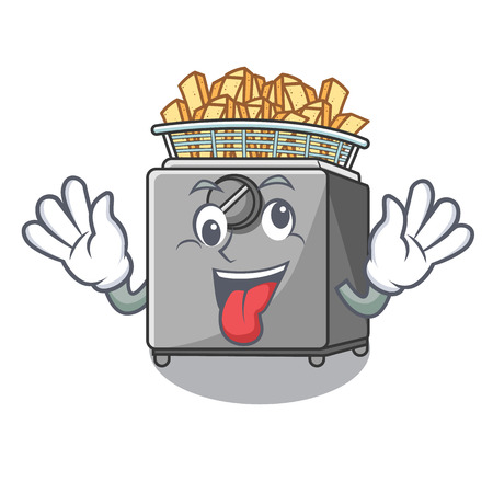Crazy deep fryer machine isolated on mascot vector illustration Ilustração