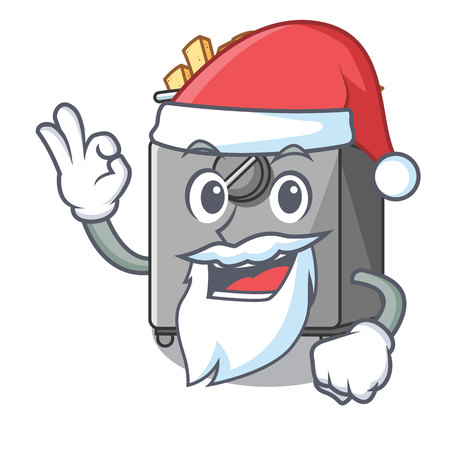 Santa deep fryer machine isolated on mascot vector illustration