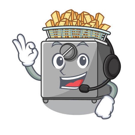 With headphone deep fryer machine isolated on mascot vector illustration