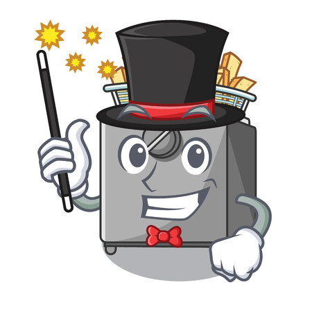 Magician deep fryer machine isolated on mascot vector illustration