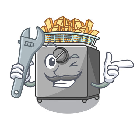 Mechanic deep fryer machine isolated on mascot Illustration