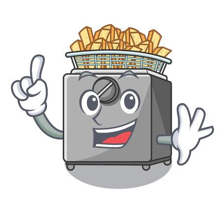 Machine de friteuse à doigts isolée sur mascot