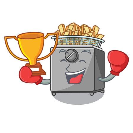 Boxing winner deep fryer machine isolated on mascot vector illustration