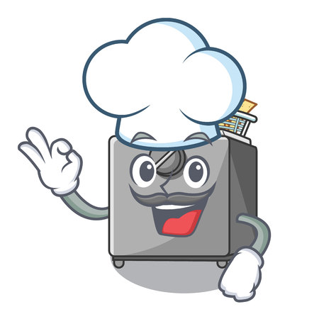 Chef character deep fryer on restaurant kitchen vector illustration Illustration