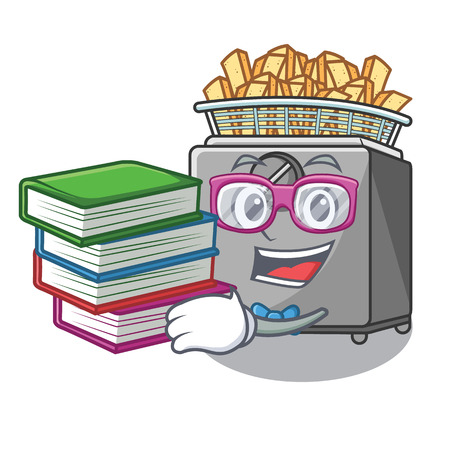 Student with book deep fryer machine isolated on mascot Stock Photo