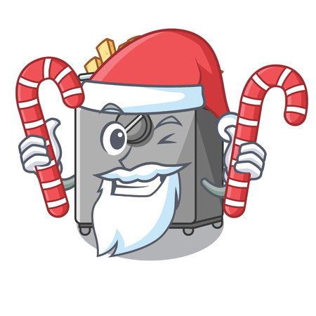 Santa with candy deep fryer machine isolated on mascot Stock Photo