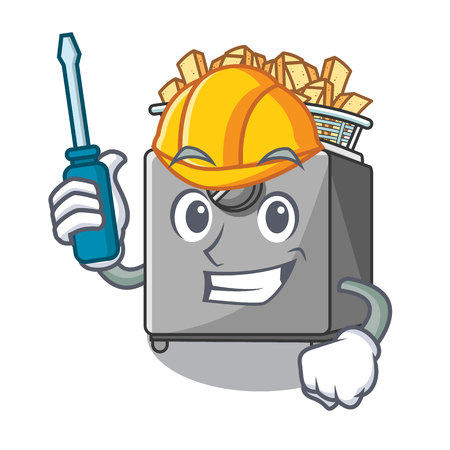 Automotive deep fryer machine isolated on mascot