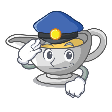 Police a character dish pouring sauce boat vector illustration 向量圖像