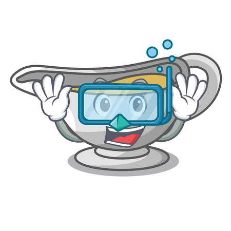 Diving sauce boat cartoon with tasty cheese