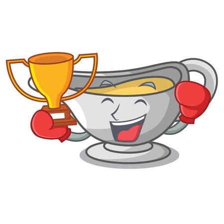 Boxing winner cartoon sauce boat with cream sauce vector illustration