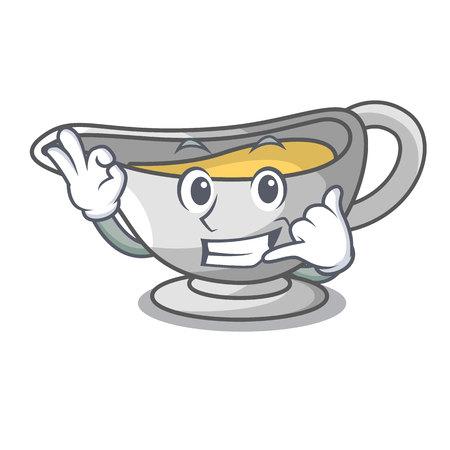 Chiamami barca di salsa di cartone animato con illustrazione vettoriale di salsa di panna