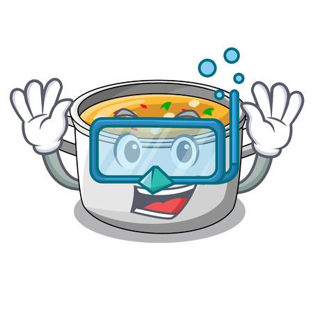 Diving cartoon chicken soup pot for dinner