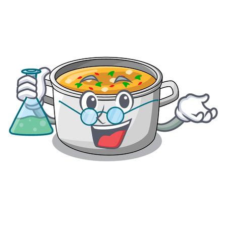 Professor cartoon chicken soup pot for dinner vector illustration Ilustração