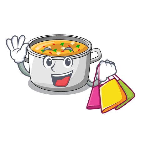 Shopping cartoon chicken soup pot for dinner vector illustration