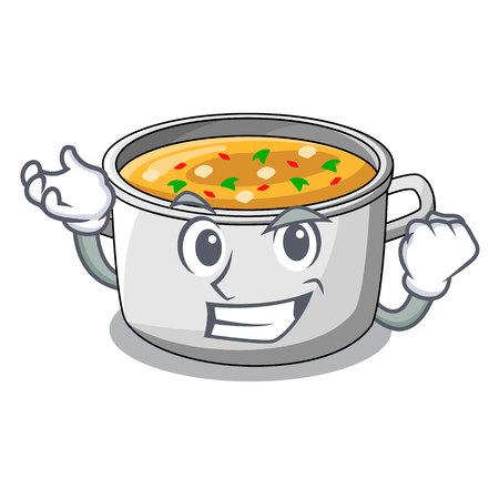 Pote de sopa de pollo de dibujos animados exitoso para la ilustración de vector de cena Ilustración de vector