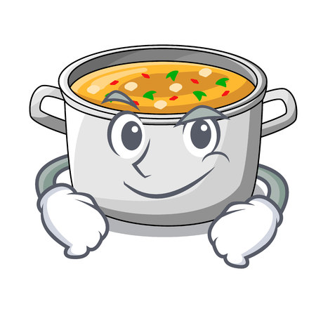 Smirking cartoon chicken soup pot for dinner vector illustration