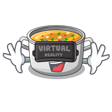 Virtual reality cooking pot of soup isolated on mascot