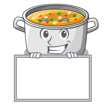 Grinning with board vegetable soup with pasta in pot cartoon vector illustration