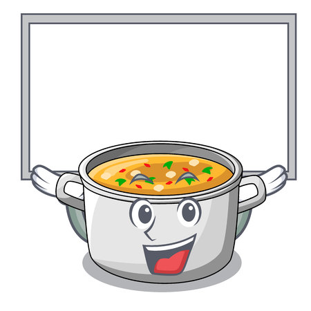 Up board vegetable soup with pasta in pot cartoon vector illustration