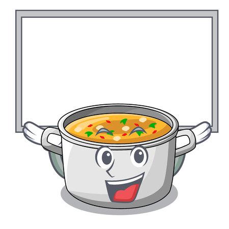 Zuppa di verdure a bordo con pasta in pentola fumetto illustrazione vettoriale