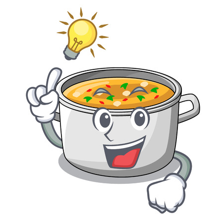 Have an idea cartoon homemade stew soup in the pot vector illustration