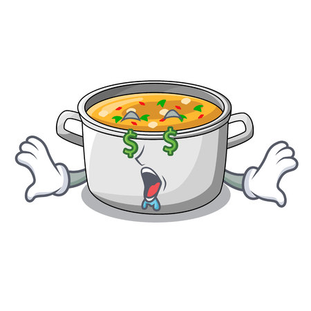 Money eye cartoon homemade stew soup in the pot vector illustration