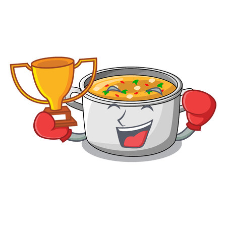 Boxing winner cartoon homemade stew soup in the pot vector illustration Vectores