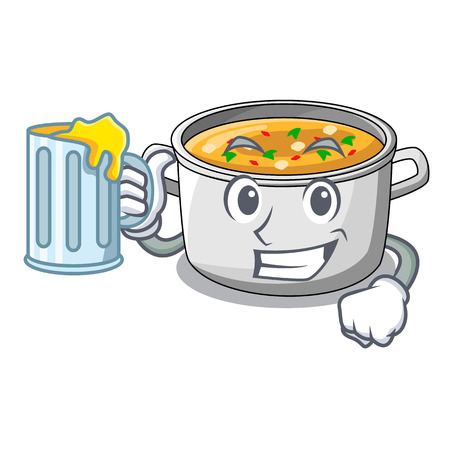 With juice cooking pot of soup isolated on mascot