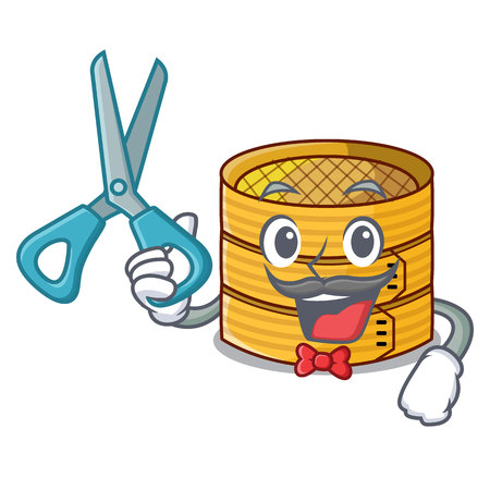 Barber character steamed bamboo for food tool vector illustration 일러스트