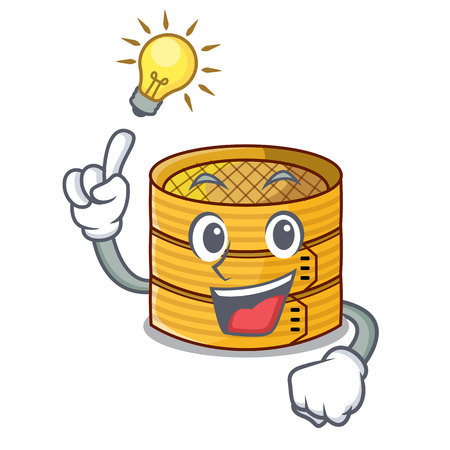 Have an idea wooden steamed food container on cartoon Illustration