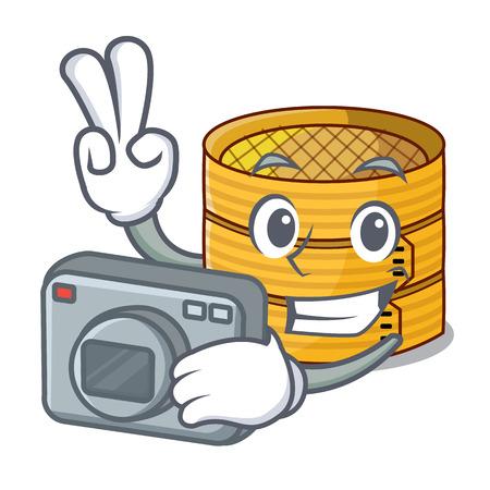 Fotógrafo de alimentos vaporizador de bambú aislado en mascota