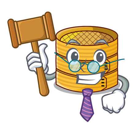 Judge wooden steamed food container on cartoon vector illustration