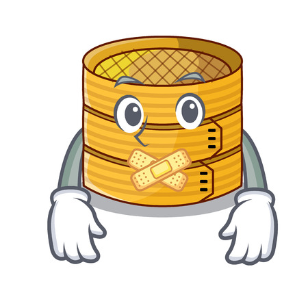 Silent wooden steamed food container on cartoon