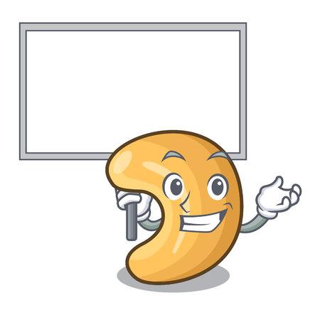 Apportez le tas de noix de cajou de personnage de conseil d'administration sur l'illustration de vecteur de dessin animé