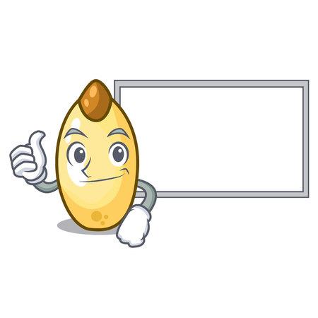 Thumbs up with board cedar nut on cartoon wooden table vector illustration Illustration