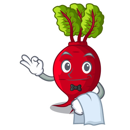 Waiter beetroot with leaves isolated on mascot vector illustration
