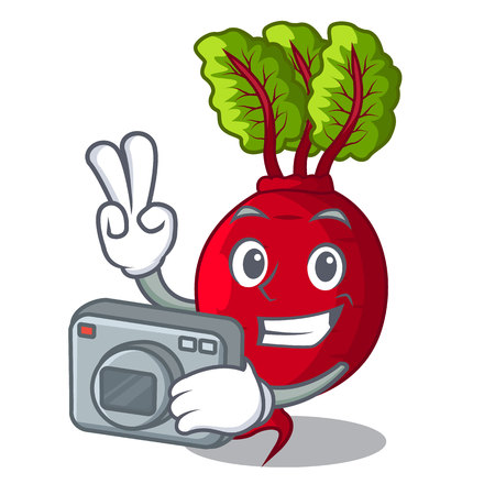 Photographer beetroot with leaves isolated on mascot vector illustration