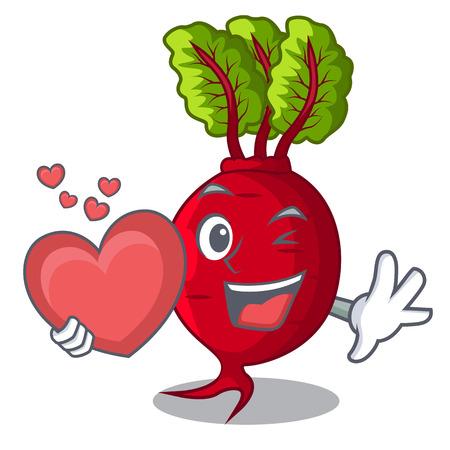 Avec coeur betterave avec feuilles isolées sur illustration vectorielle mascotte Vecteurs