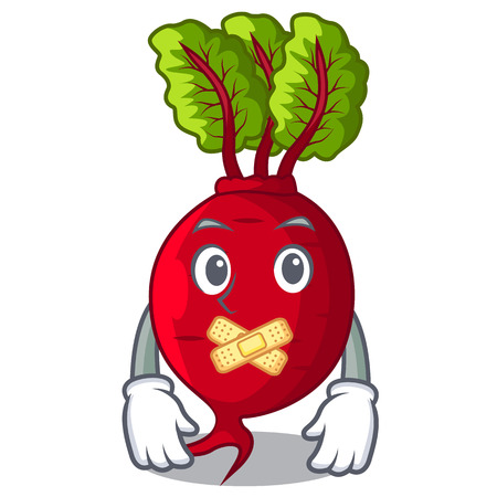 Silent whole beetroots with green leaves cartoon vector illustration