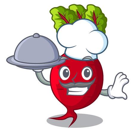 Chef avec betterave alimentaire avec des feuilles isolées sur mascot