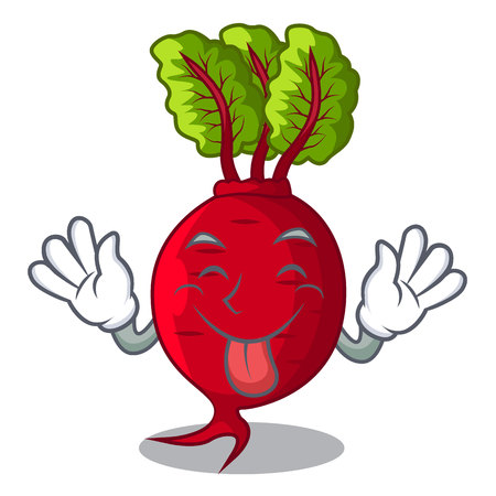 Tongue out whole beetroots with green leaves cartoon