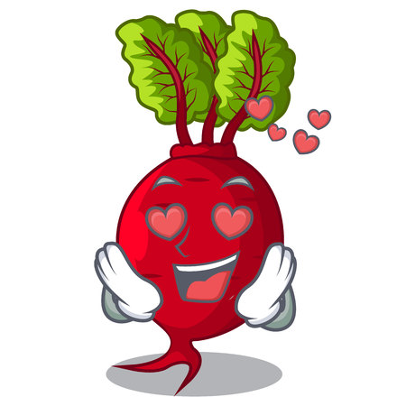In love beetroot with leaves isolated on mascot Vecteurs