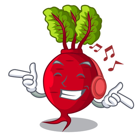 Listening music beetroot with leaves isolated on mascot