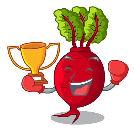 Boxing winner whole beetroots with green leaves cartoon vector illustration  イラスト・ベクター素材