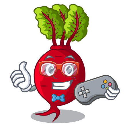Betterave Gamer avec des feuilles isolées sur illustration vectorielle mascotte Vecteurs