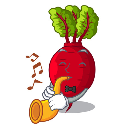 With trumpet beetroot with leaves isolated on mascot vector illustration
