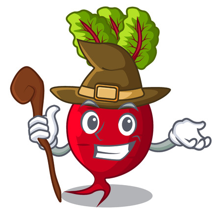 Witch beetroot with leaves isolated on mascot vector illustration