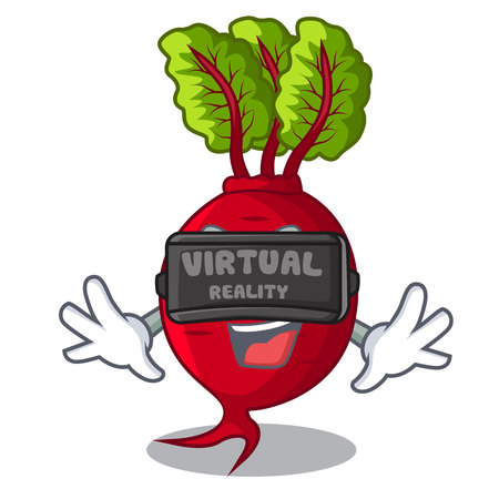 Virtual reality beetroot with leaves isolated on mascot vector illustration