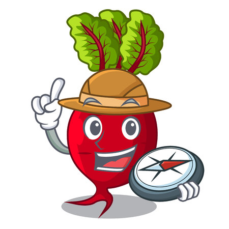 Explorer beetroot with leaves isolated on mascot vector illustration